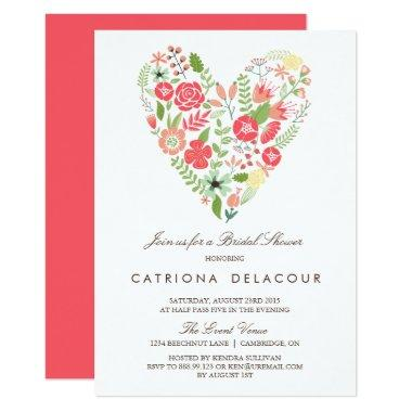 Colorful Floral Heart Spring Bridal Shower Invitations