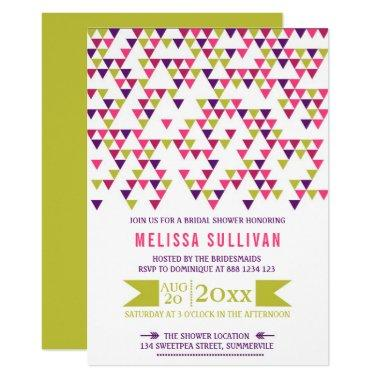 Colorful Geometric Triangles Bridal Shower Invitations