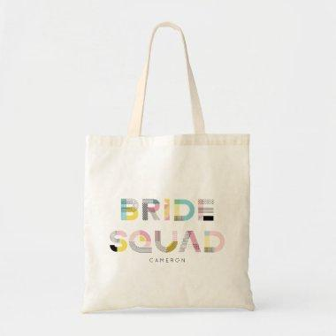Colorful Pattern Typography Modern Bride Squad Tote Bag