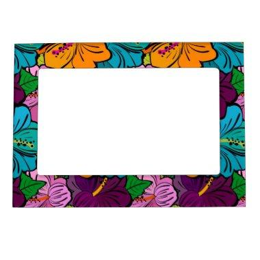 Colorful Playful Multi-Colored Hibiscus Magnetic Photo Frame