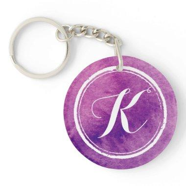 Colorful Purple Watercolor Monogram | Keychain