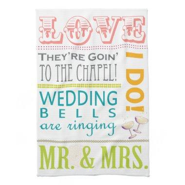 Colorful Typography Wedding Dish Towels