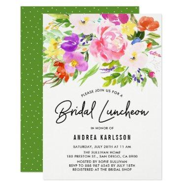 Colorful Watercolor Spring Blooms Bridal Luncheon
