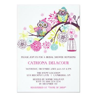 Colorful Winter Owls Floral Baby Shower Invitations