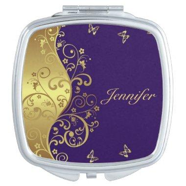 Compact Mirror-- Gold Swirls & Purple Compact Mirror
