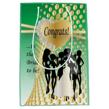 Congrats to the Bride to Be   Green Medium Gift Bag