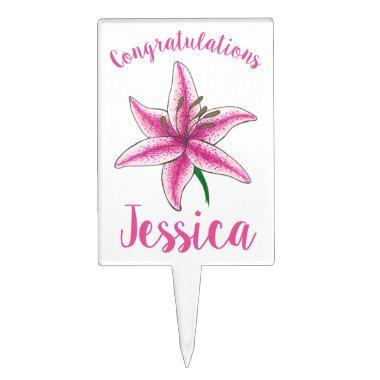 Congratulations Pink Lily Flower Bridal Shower Cake Topper