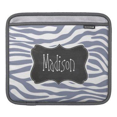 Cool Grey Zebra Stripes; Vintage Chalkboard look iPad Sleeve