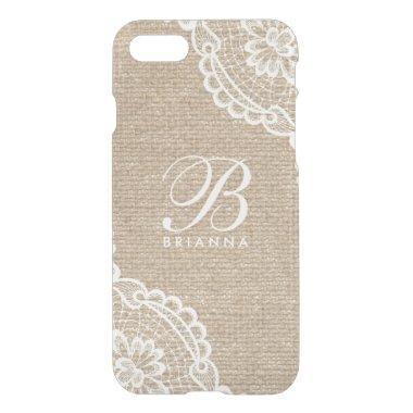 Cool Monogram Lace Burlap Uncommon iPhone 8/7 Case