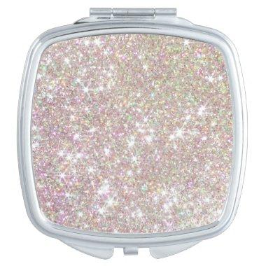 Cool Pink Rose Gold Glitter Compact Mirror