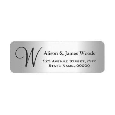 Cool Silver Metallic Look for Monogram Wedding Label