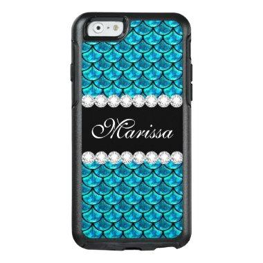 Cool Teal Blue Glitter Glass Black Mermaid Scales OtterBox iPhone 6/6s Case