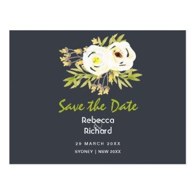 COOL WHITE & YELLOW FLORAL Save the date Post