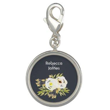 COOL WHITE & YELLOW WATERCOLOR FLORAL Personalised Charm