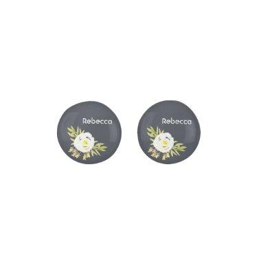 COOL WHITE & YELLOW WATERCOLOR FLORAL Personalised Earrings