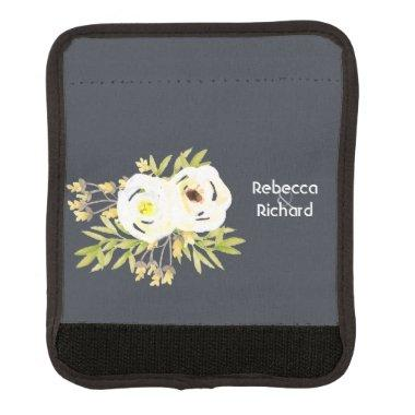 COOL WHITE & YELLOW WATERCOLOR FLORAL Personalised Luggage Handle Wrap