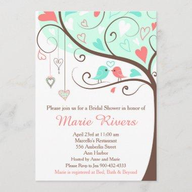 Coral and Mint Floral Bird Bridal Shower Invitations