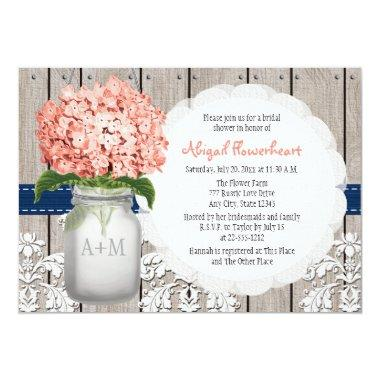 Coral and Navy Hydrangea Mason Jar Bridal Shower Invitations