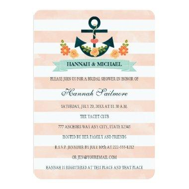 Coral and Navy Nautical Bridal Shower Invitations