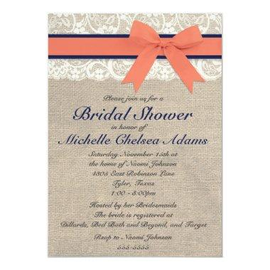 Coral and Navy Ribbon Rustic Bridal Shower Invitations