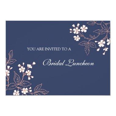 Coral Blue Floral Bridal Lunch Invitation