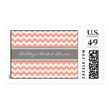 Coral Chevron  Wedding Stamps