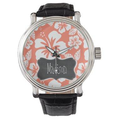 Coral Color Tropical Hibiscus; Retro Chalkboard Watch