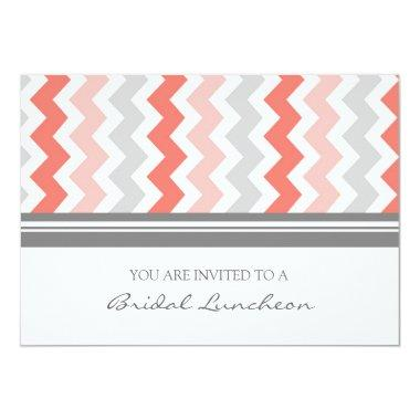 Coral Gray Chevron Bridal Lunch Invitation