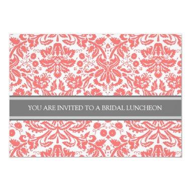 Coral Gray Damask Bridal Lunch Invitations