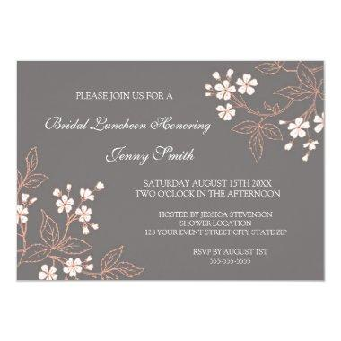 Coral Gray Floral Bridal Lunch Invitation