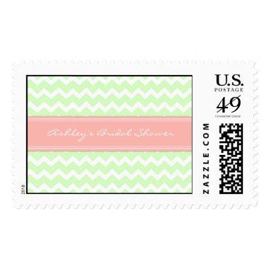 Coral Mint Chevron  Wedding Stamps