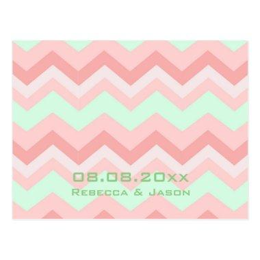 coral mint chevron wedding save the date post