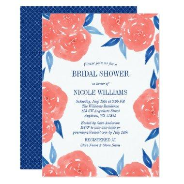 Coral Navy Blue Watercolor Flowers Bridal Shower Invitations