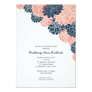 Coral Navy Dahlias  invites