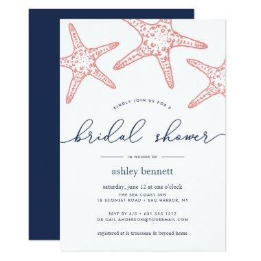 Coral & Navy Starfish Bridal Shower Invitations