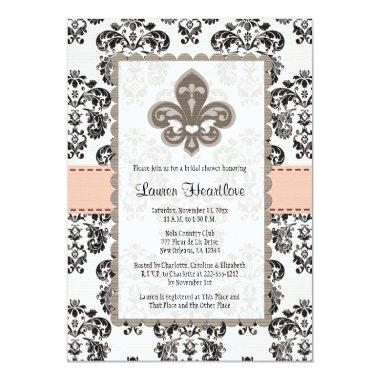 Coral Peach Fleur de Lis Bridal Shower Invitations