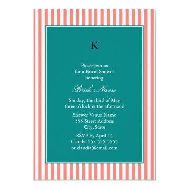 Coral Pink and White Stripes , Teal