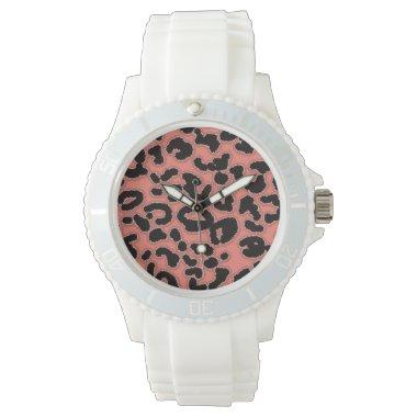 Coral Pink Leopard Animal Print Wristwatch