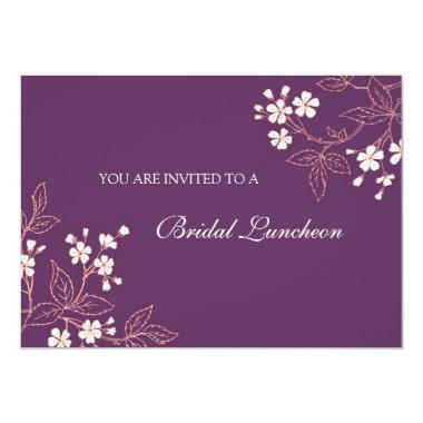 Coral Plum Floral Bridal Lunch Invitation