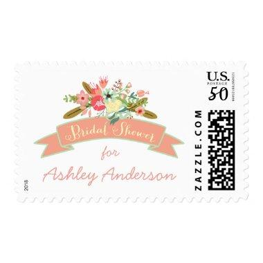Coral Rustic Flowers |  Postage Stamp