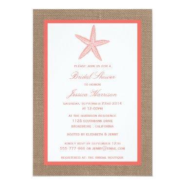 Coral Starfish Beach Burlap Bridal Shower Invitations