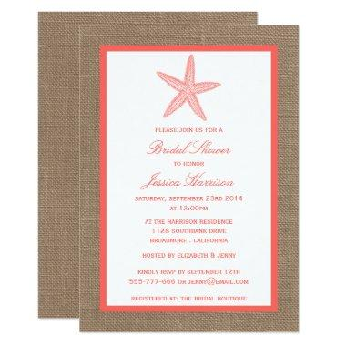 Coral Starfish Beach Burlap Bridal Shower Invitations