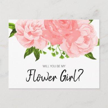 Coral Watercolor Floral Be My Flower Girl PostInvitations