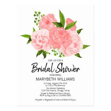 Coral Watercolor Floral  Invitation Post