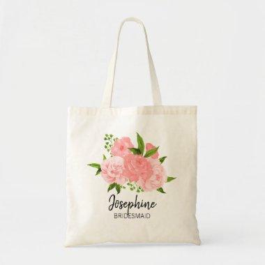 Coral Watercolor Floral Bridesmaid Tote Bag