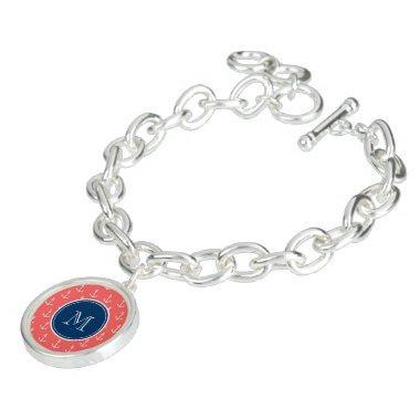Coral White Anchors Pattern, Navy Blue Monogram Charm Bracelet