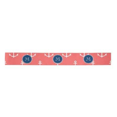 Coral White Anchors Pattern, Navy Blue Monogram Satin Ribbon