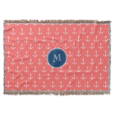 Coral White Anchors Pattern, Navy Blue Monogram Throw
