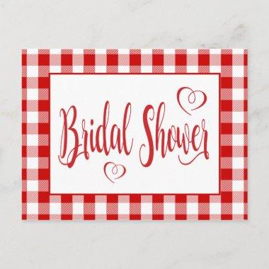 Country Gingham Bridal Shower Red And White Checks Invitation PostInvitations