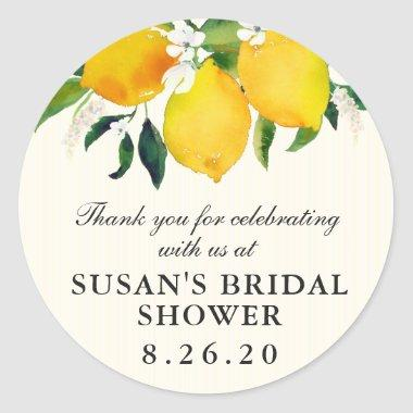 Country Lemon and Flowers Bridal Shower Favor Classic Round Sticker